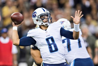 NEW ORLEANS, LA - NOVEMBER 8:  Marcus Mariota #8 of the Tennessee Titans throws a pass during a game against the New Orleans Saints at Mercedes-Benz Superdome on November 8, 2015 in New Orleans, Louisiana.  The Titans defeated the Saints in overtime 34-28.  (Photo by Wesley Hitt/Getty Images)