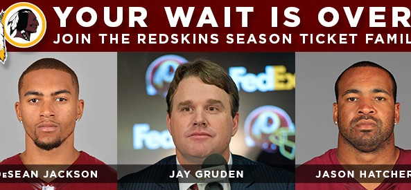 DeSean Jackson, Jay Gruden, and Jason Hatcher invite you to buy Redskins season tickets.