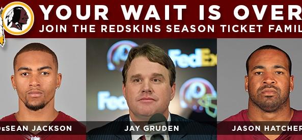 DeSean Jackson, Jay Gruden, and Jason Hatcher invite you to buy Redskins season tickets.