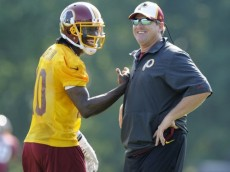 Redskins QB Robert Griffin III and Head Coach Jay Gruden during 2014 OTAs