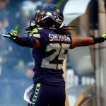 SEATTLE, WA - JANUARY 19:  Cornerback Richard Sherman #25 of the Seattle Seahawks takes the field for the 2014 NFC Championship against the San Francisco 49ers at CenturyLink Field on January 19, 2014 in Seattle, Washington.  (Photo by Jonathan Ferrey/Getty Images)