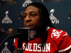 NEW ORLEANS, LA - JANUARY 30:  Dashon Goldson #38 of the San Francisco 49ers addresses the media during Super Bowl XLVII Media Availability at the New Orleans Marriott on January 30, 2013 in New Orleans, Louisiana. The 49ers will take on the Baltimore Ravens on February 3, 2013 at the Mercedes-Benz Superdome.  (Photo by Scott Halleran/Getty Images)