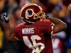 LANDOVER, MD - DECEMBER 01:  Alfred Morris #46 of the Washington Redskins celebrates after scoring a one yard touchdown in the first quarter against the New York Giants during their game at FedExField on December 1, 2013 in Landover, Maryland.  (Photo by Rob Carr/Getty Images)