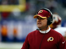 EAST RUTHERFORD, NJ - DECEMBER 14:  Head coach Jay Gruden of the Washington Redskins looks on in the first half against the New York Giants during their game at MetLife Stadium on December 14, 2014 in East Rutherford, New Jersey.  (Photo by Jeff Zelevansky/Getty Images)