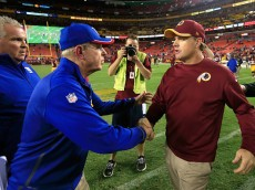 LANDOVER, MD - SEPTEMBER 25:  Head coaches Tom Coughlin of the New York Giants and Jay Gruden of the Washington Redskins shake hands following the Giants' 45-14 win at FedExField on September 25, 2014 in Landover, Maryland.  (Photo by Rob Carr/Getty Images)