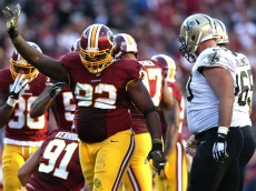 LANDOVER, MD - NOVEMBER 15: Defensive end Chris Baker #92 of the Washington Redskins celebrates against the New Orleans Saints at FedExField on November 15, 2015 in Landover, Maryland. The Washington Redskins won, 47-14. (Photo by Patrick Smith/Getty Images)