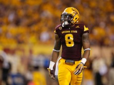 TEMPE, AZ - SEPTEMBER 12:  Cornerback Lloyd Carrington #8 of the Arizona State Sun Devils during the college football game against the Cal Poly Mustangs at Sun Devil Stadium on September 12, 2015 in Tempe, Arizona.  (Photo by Christian Petersen/Getty Images)