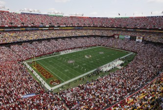 LANDOVER, MD - SEPTEMBER 12:  An aerial view of FedEx Field taken during NFL week one between the Washington Redskins and the Tampa Bay Buccaneers at FedEx Field on September 12, 2004 in Landover, Maryland. Redskins defeated the Buccaneers 16-10.  (Photo by Doug Pensinger/Getty Images)