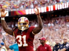 LANDOVER, MD - SEPTEMBER 20: Running back Matt Jones #31 of the Washington Redskins celebrates after scoring a fourth quarter touchdown during a game against the St. Louis Rams at FedExField on September 20, 2015 in Landover, Maryland. (Photo by Matt Hazlett/Getty Images)