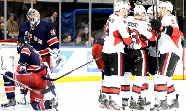 New York Rangers play Ottawa Senators in NHL game in New York