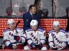Oct 15, 2015; Montreal, Quebec, CAN; New York Rangers head coach Alain Vigneault during the first period against the Montreal Canadiens at the Bell Centre. Mandatory Credit: Eric Bolte-USA TODAY Sports