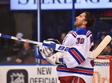 Feb 25, 2016; St. Louis, MO, USA; New York Rangers goalie Henrik Lundqvist (30) during a stoppage in play of the game against the St. Louis Blues during the second period at Scottrade Center. Mandatory Credit: Jasen Vinlove-USA TODAY Sports