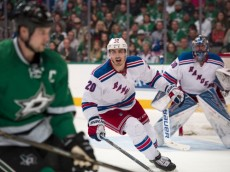 Feb 27, 2016; Dallas, TX, USA; New York Rangers left wing Chris Kreider (20) chases Dallas Stars left wing Jamie Benn (14) during the second period at the American Airlines Center. Kreider scores a goal. Mandatory Credit: Jerome Miron-USA TODAY Sports