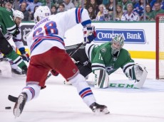 Feb 27, 2016; Dallas, TX, USA; Dallas Stars goalie Kari Lehtonen (32) makes a save on a shot by New York Rangers center Dominic Moore (28) during the first period at the American Airlines Center. Mandatory Credit: Jerome Miron-USA TODAY Sports