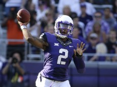 TCU quarterback Trevone Boykin (2) passes against Oklahoma State in the first half of an NCAA college football game, Saturday, Oct. 18, 2014, in Fort Worth, Texas. (AP Photo/Tony Gutierrez)