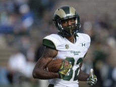 COLORADO SPRINGS, CO - NOVEMBER 28: Colorado State Rams wide receiver Rashard Higgins #82 during warm-ups before playing the Air Force Falcons at Falcon Stadium November 28, 2014. (Photo by Andy Cross/The Denver Post)