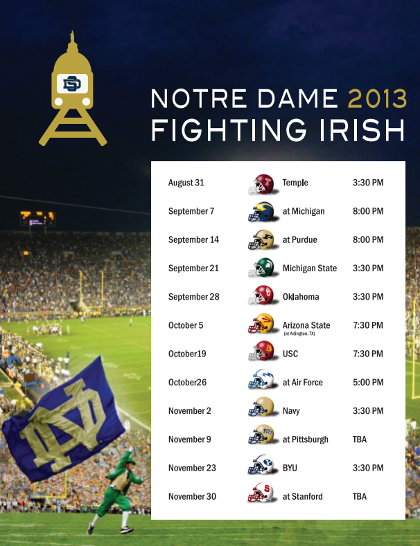 Notre Dame S 2013 Schedule Downloadable Amp Printable