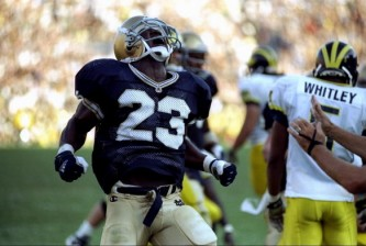 5 Sep 1998:  Autry Denson #23 of the Notre Dame Fighting Irish celebrates during a game against the Michigan Wolverines at the Notre Dame Stadium in South Bend, Indiana. The Fighting Irish defeated the Wolverines 36-20. Mandatory Credit: Jonathan Daniel