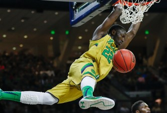 SOUTH BEND, IN - MARCH 07: Jerian Grant #22 of the Notre Dame Fighting Irish dunks the ball against the Clemson Tigers at Purcell Pavilion on March 7, 2015 in South Bend, Indiana. Notre Dame defeated Clemson 81-67. (Photo by Michael Hickey/Getty Images)