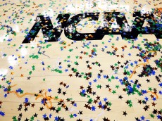 NEW ORLEANS, LA - APRIL 02:  Confetti is seen on the NCAA logo after the Kentucky Wildcats defeat the Kansas Jayhawks 67-59 in the National Championship Game of the 2012 NCAA Division I Men's Basketball Tournament at the Mercedes-Benz Superdome on April 2, 2012 in New Orleans, Louisiana.  (Photo by Ronald Martinez/Getty Images)