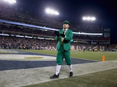 NASHVILLE, TN - DECEMBER 30: The Notre Dame Fighting Irish mascot performs during the Franklin American Mortgage Music City Bowl against the LSU Tigers at LP Field on December 30, 2014 in Nashville, Tennessee.  (Photo by Andy Lyons/Getty Images)