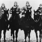 The Four Horsemen of Notre Dame, (L-R) quarterback Harry Stuhldreher, fullback Elmer Leyden, left halfback Jim Crowley, and right hafback Don Miller. George Strickler, Knute Rockne's student publicity aide posed the four players, dressed in their uniforms, on the backs of four horses from a livery stable in town. (Photo by Notre Dame University/Getty Images) *** Local Caption ***