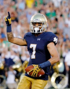 SOUTH BEND, IN - SEPTEMBER 05: William Fuller (7) of the Notre Dame Fighting Irish celebrates after making a touchdown reception against the Texas Longhorns during the first quarter at Notre Dame Stadium on September 5, 2015 in South Bend, Indiana.  (Photo by Jon Durr/Getty Images)