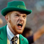 SOUTH BEND, IN - SEPTEMBER 05: The Notre Dame Fighting Irish Leprechaun celebrates a touchdown against the Texas Longhorns during the first quarter at Notre Dame Stadium on September 5, 2015 in South Bend, Indiana.  (Photo by Jon Durr/Getty Images)