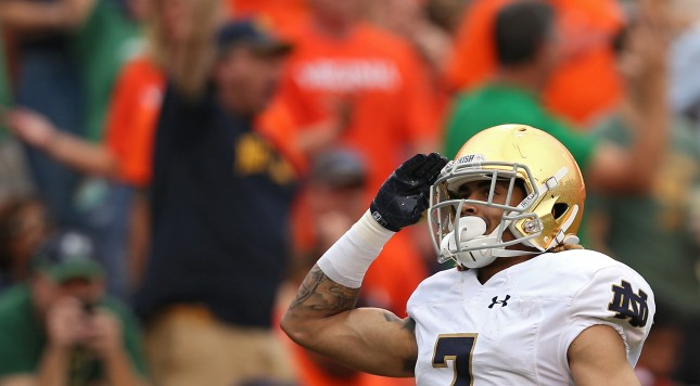 CHARLOTTESVILLE, VA - SEPTEMBER 12: Wide receiver William Fuller #7 of the Notre Dame Fighting Irish celebrates a third quarter touchdown against the Virginia Cavaliers at Scott Stadium on September 12, 2015 in Charlottesville, Virginia. The Notre Dame Fighting Irish won, 34-27. (Photo by Patrick Smith/Getty Images)