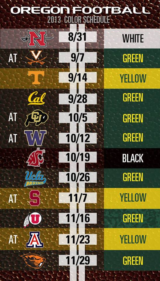 What Not To Wear Oregon Football S 2013 Schedule And Fan