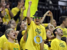 EUGENE, OR - FEBRUARY 07: Oregon Ducks fans cheer during the second half of the game against the Colorado Buffaloes at Matthew Knight Arena on February 7, 2013 in Eugene, Oregon. Colorado won the game 48-47. (Photo by Steve Dykes/Getty Images)