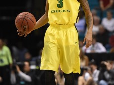LAS VEGAS, NV - MARCH 12:  Joseph Young #3 of the Oregon Ducks calls out a play against the Colorado Buffaloes during a quarterfinal game of the Pac-12 Basketball Tournament at the MGM Grand Garden Arena on March 12, 2015 in Las Vegas, Nevada. Oregon won 93-85.  (Photo by Ethan Miller/Getty Images)