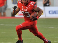 SALT LAKE CITY, UT - SEPTEMBER 3: Devontae Booker #23 of the Utah Utes runs with the ball during their game against the Michigan Wolverines at Rice-Eccles Stadium on September 3, 2015 in Salt Lake City, Utah. (Photo by Gene Sweeney Jr/Getty Images)