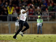 PALO ALTO, CA - NOVEMBER 14:  Tyson Coleman #33 of the Oregon Ducks celebrates after he recovered a fumble during their game against the Stanford Cardinal at Stanford Stadium on November 14, 2015 in Palo Alto, California.  (Photo by Ezra Shaw/Getty Images)