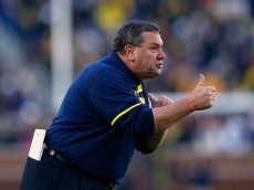 ANN ARBOR, MI - NOVEMBER 01:  Michigan Wolverines head football coach Brady Hoke watches the action from the sidelines during the game against the Indiana Hoosiers at Michigan Stadium on November 1 , 2014 in Ann Arbor, Michigan. The Wolverines defeated the Hoosiers 34-10.  (Photo by Leon Halip/Getty Images)