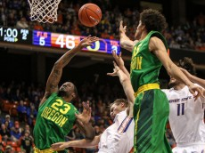 BOISE, ID - DECEMBER 12: Forward Elgin Cook #23 of the Oregon Ducks tries to grab a rebound during second half action against the Boise State Broncos on December 12, 2015 at Taco Bell Arena in Boise, Idaho. Boise State won the game 74-72. (Photo by Loren Orr/Getty Images)