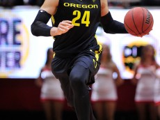SALT LAKE CITY, UT - JANUARY 14: Dillon Brooks #24 of the Oregon Ducks brings the ball up court in the second half of the Ducks 77-59 win over the Utah Utes at the Jon M. Huntsman Center on January 14, 2016 in Salt Lake City, Utah. (Photo by Gene Sweeney Jr/Getty Images)
