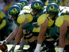 The Oregon Ducks offensive line sets up for a play at Autzen Stadium in Eugene, Oregon. Oregon lost to Washington State 55-16. (Photo by Tom Hauck/Getty Images)