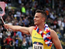 EUGENE, OR - JULY 09:  Devon Allen celebrates after placing first in the Men's 110 Meter Hurdles Final during the 2016 U.S. Olympic Track & Field Team Trials at Hayward Field on July 9, 2016 in Eugene, Oregon.  (Photo by Patrick Smith/Getty Images)