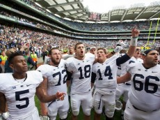 Christian Hackenberg celebrates PSU victory over UCF in Ireland. Photo: Getty Images