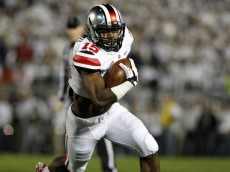 Ohio State running back Ezekiel Elliott rushes against Penn State (2014, Getty Images).