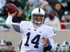 Penn State quarterback Christian Hackenberg throws a pass during the first quarter of an NCAA college football game against Michigan State, Saturday, Nov. 28, 2015, in East Lansing, Mich. (AP Photo/Al Goldis)