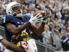 Maryland's Sean Davis breaks up a pass intended for Penn State's Geno Lewis in the first half of an NCAA college football game at Beaver Stadium, Saturday, Nov. 1, 2014, in State College, Pa. (AP Photo/York Daily Record,  Chris Dunn)  YORK DISPATCH OUT