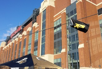 Purdue flag over Lucas Oil