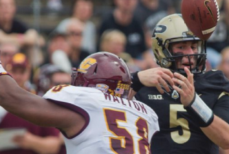 Etling has trouble handling the ball v. CMU earlier today