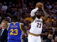 during Game Six of the 2015 NBA Finals at Quicken Loans Arena on June 16, 2015 in Cleveland, Ohio. NOTE TO USER: User expressly acknowledges and agrees that, by downloading and or using this photograph, user is consenting to the terms and conditions of Getty Images License Agreement.