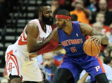 HOUSTON, TX - MARCH 01:  Josh Smith #6 of the Detroit Pistons drives with the ball against James Harden #13 of the Houston Rockets during the game at the Toyota Center on March 1, 2014 in Houston, Texas. NOTE TO USER: User expressly acknowledges and agrees that, by downloading and or using this photograph, User is consenting to the terms and conditions of the Getty Images License Agreement.  (Photo by Scott Halleran/Getty Images)