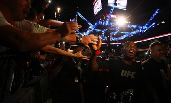 jon jones celebrating with fans ufc 145