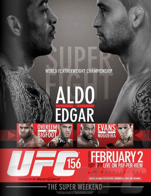 ufc 156 aldo vs edgar fight poster