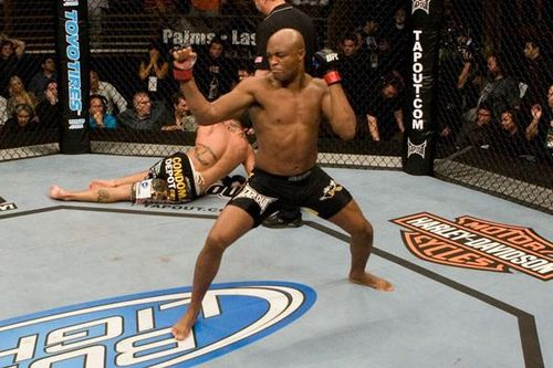 anderson silva celebrating in octagon